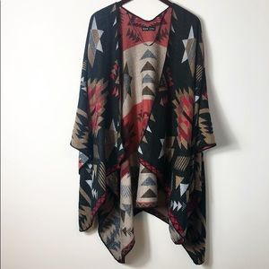 Black Rivet Tribal Print Open Kimono Black OS